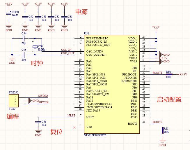 stm32单片机最小系统电路