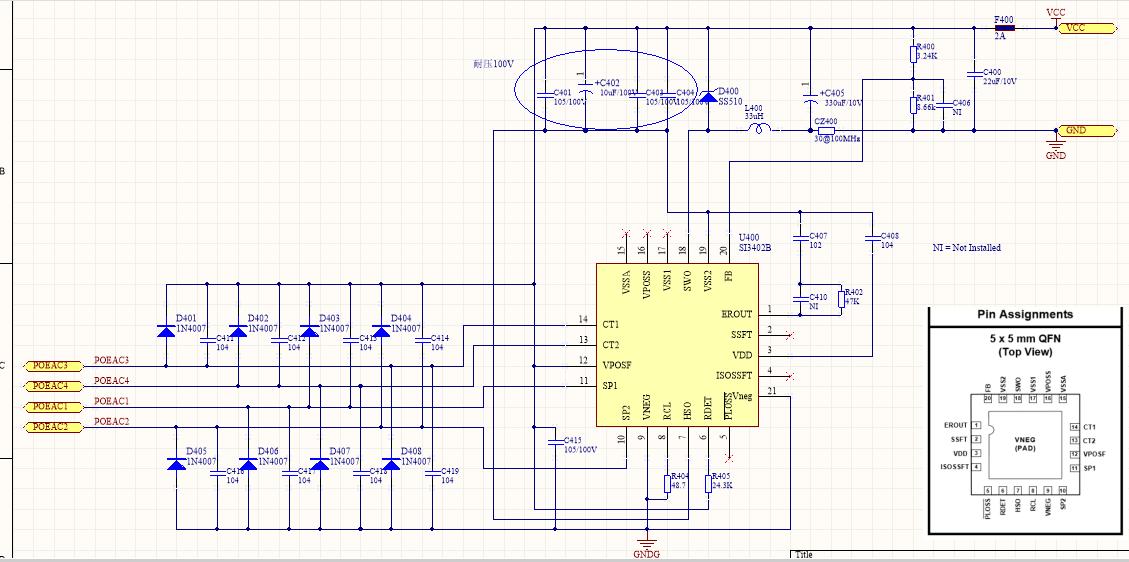 基于SI3402B方案的POE非隔离实际应用